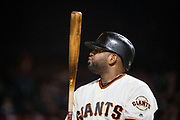San Francisco Giants third baseman Pablo Sandoval (48) watches pitches from the on deck circle during a MLB game against the Milwaukee Brewers at AT&T Park in San Francisco, California, on August 21, 2017. (Stan Olszewski/Special to S.F. Examiner)