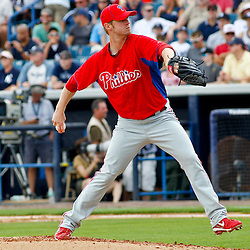 March 11, 2012; Tampa Bay, FL, USA; Philadelphia Phillies relief pitcher Kyle Kendrick (38) throws during the bottom of the second inning of a spring training game against the New York Yankees at George M. Steinbrenner Field. Mandatory Credit: Derick E. Hingle-US PRESSWIRE