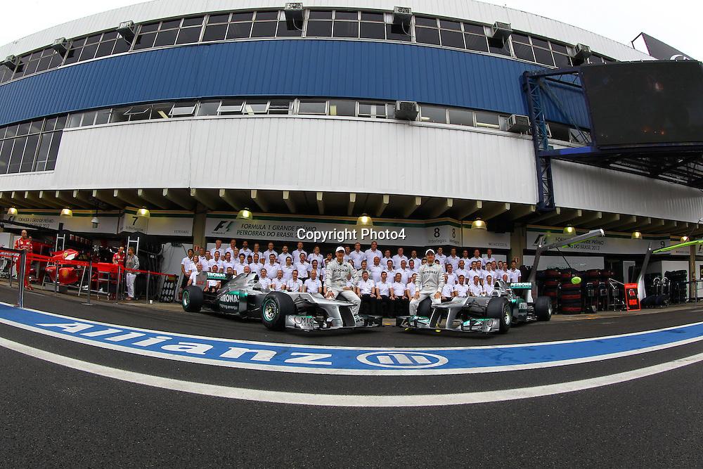 &copy; Photo4 / LaPresse<br /> 25/11/2012 Sao Paulo, Brazil<br /> Sport <br /> Brazilian Grand Prix, Sao Paulo 22-25 November 2012<br /> In the pic: Mercedes Team photograph, Michael Schumacher (GER) Mercedes AMG F1 W03 and Nico Rosberg (GER) Mercedes AMG F1 W03