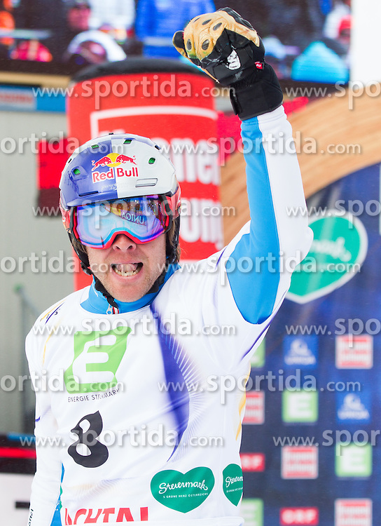 Benjamin Karl of Austria celebrates at finish line after placed third during the Men's Parallel Giant Slalom at FIS World Championships of Snowboard and Freestyle 2015, on January 23, 2015 at the WM Piste in Lachtal, Austria. Photo by Vid Ponikvar / Sportida