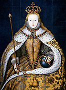 Elizabeth I in coronation robes. Elizabeth I (1533-1603) queen of England from 1558. Daughter of Henry VIII and Anne Boleyn, she was the last Tudor