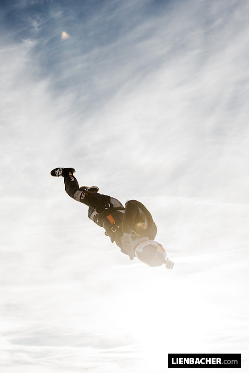 Marco Waltenspiel of the Red Bull Skydive Team is waving goodbye after a great jump in Salzburg