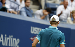 NEW YORK, Sept. 11, 2017  Kevin Anderson of South Africa reacts during the Men's singles final match against Rafael Nadal of Spain at 2017 US Open in New York, the United States, Sept. 10, 2017. Rafael Nadal won 3-0 to claim the title. (Credit Image: © Qin Lang/Xinhua via ZUMA Wire)