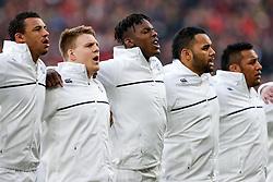 England Lock Maro Itoje (C) passionately sings the national anthem before starting for his Country - Mandatory byline: Rogan Thomson/JMP - 27/02/2016 - RUGBY UNION - Twickenham Stadium - London, England - England v Ireland - RBS 6 Nations 2016.