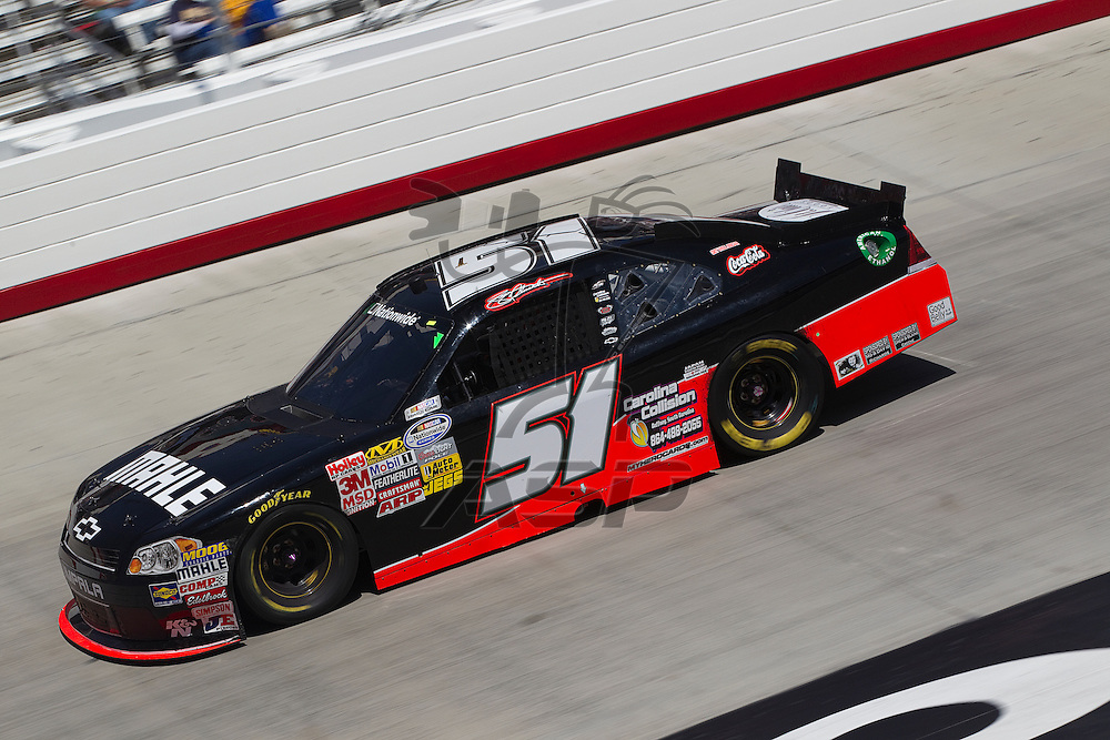 BRISTOL, TN - MAR 19, 2011:  Jeremy Clements (51) races for position during the Scotts EZ Seed 300 race at the Bristol Motor Speedway in Bristol, TN.