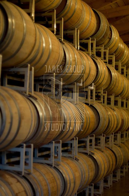 Wine barrels in a vinyard barrel room