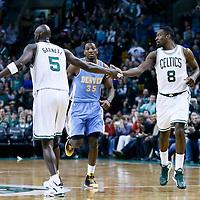 10 February 2013: Boston Celtics power forward Jeff Green (8) is congratulated by Boston Celtics power forward Kevin Garnett (5) during the Boston Celtics 118-114 3OT victory over the Denver Nuggets at the TD Garden, Boston, Massachusetts, USA.