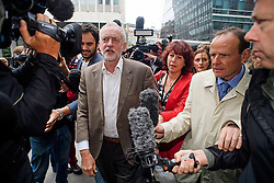 © Licensed to London News Pictures. 20/09/2016. London, UK. Labour party leader JEREMY CORBYN arrives at Labour Party headquarters in central London for an NEC meeting where Labour Party shadow cabinet selection is due to be discussed. Labour MPs voted overwhelmingly to bring back Shadow Cabinet elections, a move that will need to be passed before the Labour National Executive Committee before it can be agreed on at conference later this month. Photo credit: Ben Cawthra/LNP