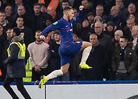 Football - 2018 / 2019 EFL Carabao Cup (League Cup) - Semi-Final, Second Leg: Chelsea (0) vs. Tottenham Hotspur (1)<br /> <br /> Eden Hazard (Chelsea FC)  leaps into the air after scoring his teams second goal at Stamford Bridge <br /> <br /> COLORSPORT/DANIEL BEARHAM