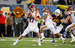 Nov 4, 2017; Morgantown, WV, USA; Iowa State Cyclones quarterback Kyle Kempt (17) drops back to pass during the fourth quarter against the West Virginia Mountaineers at Milan Puskar Stadium. Mandatory Credit: Ben Queen-USA TODAY Sports