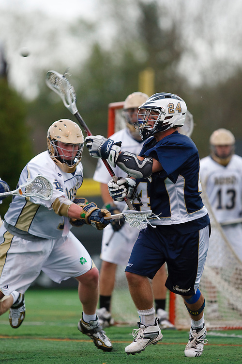 May 1, 2009:    #24 DeAlmeida, Alex of Quinnipiac and #12 Grant Krebs of Notre Dame in action during the NCAA Lacrosse game between Notre Dame and Quinnipiac at GWLL Tournament in Birmingham, Michigan. (Credit Image: Rick Osentoski/Cal Sport Media)