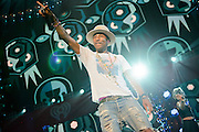 Pharell Williams performing at the iHeartRadio Jingle Ball 2014, hosted by Z100 New York at Madison Square Garden on December 12, 2014 in New York City.