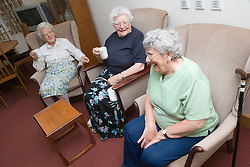 A group of older ladies enjoying a coffee morning in the communal lounge of a warden aided home,