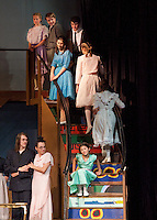 """Kaia Langathianos as Gretl the youngest of the Von Trapp children is the last to sing """"Good Bye"""" to guests during dress rehearsal for The Sound of Music presented at Gilford High School.  (Karen Bobotas/for the Laconia Daily Sun)"""