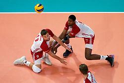 23-09-2019 NED: EC Volleyball 2019 Poland - Germany, Apeldoorn<br /> 1/4 final EC Volleyball - Poland win 3-0 / Michał Kubiak #13 of Poland, Wilfredo Leon Venero #9 of Poland