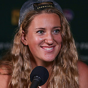 March 20 , 2016, Palm Springs, CA:<br /> Victoria Azarenka addresses the media during a press conference after defeating Serena Williams in the women's finals match during the 2016 BNP Paribas Open at the Indian Wells Tennis Garden in Indian Wells, California Sunday, March 20, 2016.<br /> (Photos by Billie Weiss/BNP Paribas Open)