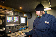 """Iowa USA, IA. Sioux City, A """"Channel 4"""" (NBC) news crew mobile control room, covering the """"Downtown for the Holidays"""" parade November 2006"""