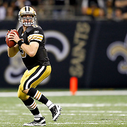 September 25, 2011; New Orleans, LA, USA; New Orleans Saints quarterback Drew Brees (9) against the Houston Texans during the fourth quarter at the Louisiana Superdome. The Saints defeated the Texans 40-33. Mandatory Credit: Derick E. Hingle