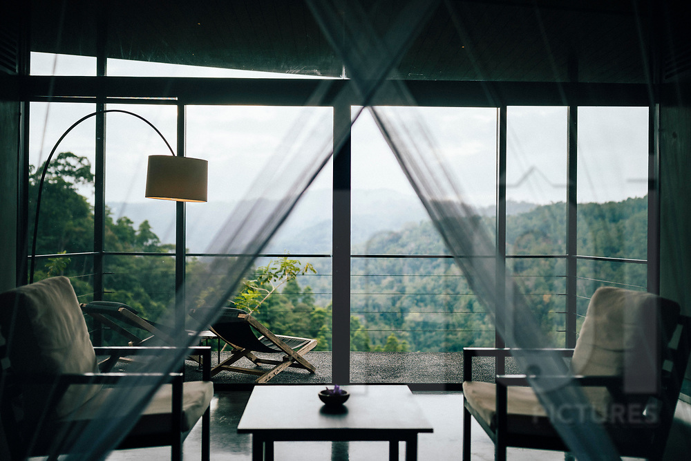 A room overlooking the Knuckles Mountain at the Santani Resort,  Range, Kandy, Sri Lanka, Asia