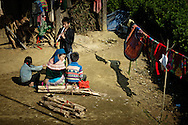 Vietnam, Bac Ha. Daily life of Flower Hmongs from a small village situated near Bac Ha.