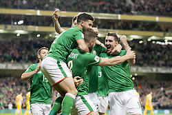 October 6, 2017 - Dublin, Ireland - The Irish players celebrate after first goal during the FIFA World Cup 2018 Qualifying Round Group D match between Republic of Ireland and Moldova at Aviva Stadium in Dublin, Ireland on October 6, 2017  (Credit Image: © Andrew Surma/NurPhoto via ZUMA Press)