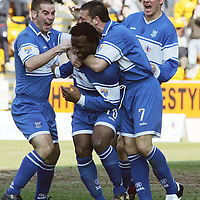 St Johnstone v Dundee....25.03.07<br /> Jason Scotland is mobbed by Peter MacDonald, Derek McInnes and the second goal scorer Martin Hardie<br /> Picture by Graeme Hart.<br /> Copyright Perthshire Picture Agency<br /> Tel: 01738 623350  Mobile: 07990 594431