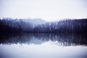 silhouette of trees and their reflection in the lake water on a cloudy foggy day
