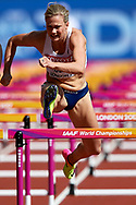 Great Britain, London - 2017 August 11: Isabelle Pedersen from Norway competes in women's 100 meters qualification during IAAF World Championships London 2017 Day 8 at London Stadium on August 11, 2017 in London, Great Britain.<br /> <br /> Mandatory credit:<br /> Photo by © Adam Nurkiewicz<br /> <br /> Adam Nurkiewicz declares that he has no rights to the image of people at the photographs of his authorship.<br /> <br /> Picture also available in RAW (NEF) or TIFF format on special request.<br /> <br /> Any editorial, commercial or promotional use requires written permission from the author of image.