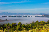 beautiful landscape panorama on a valley between Kalaw and Inle lake Shan state in Myanmar (Burma)