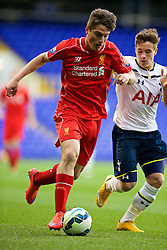 LONDON, ENGLAND - Friday, April 17, 2015: Liverpool's Sergi Canos in action against Tottenham Hotspur during the Under 21 FA Premier League match at White Hart Lane. (Pic by David Rawcliffe/Propaganda)
