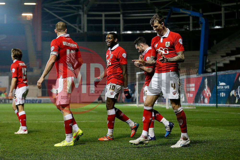 Aden Flint of Bristol City celebrates scoring a goal to make it 2-0 - Photo mandatory by-line: Rogan Thomson/JMP - 07966 386802 - 17/03/2015 - SPORT - FOOTBALL - Bristol, England - Ashton Gate Stadium - Bristol City v Crewe Alexandra - Sky Bet League 1.