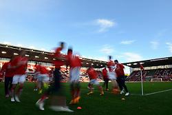 Stoke City warms up - Photo mandatory by-line: Dougie Allward/JMP - Mobile: 07966 386802 - 06/12/2014 - SPORT - Football - Stoke - Britannia Stadium - Stoke City v Arsenal - Barclays Premie League