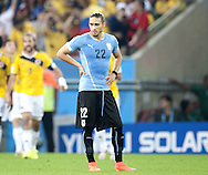 Martín Cáceres of Uruguay reacts during the 2014 FIFA World Cup match at Maracana Stadium, Rio de Janeiro<br /> Picture by Stefano Gnech/Focus Images Ltd +39 333 1641678<br /> 28/06/2014
