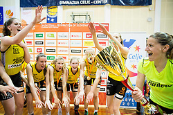 Maja Erkic of Athlete Celje and other players celebrate after winning during basketball match between ZKK Athlete Celje and ZKK Triglav in Finals of 1. SKL for Women 2014/15, on April 20, 2015 in Gimnazija Celje Center, Celje, Slovenia. ZKK Athlete Celje became Slovenian National Champion 2015. Photo by Vid Ponikvar / Sportida