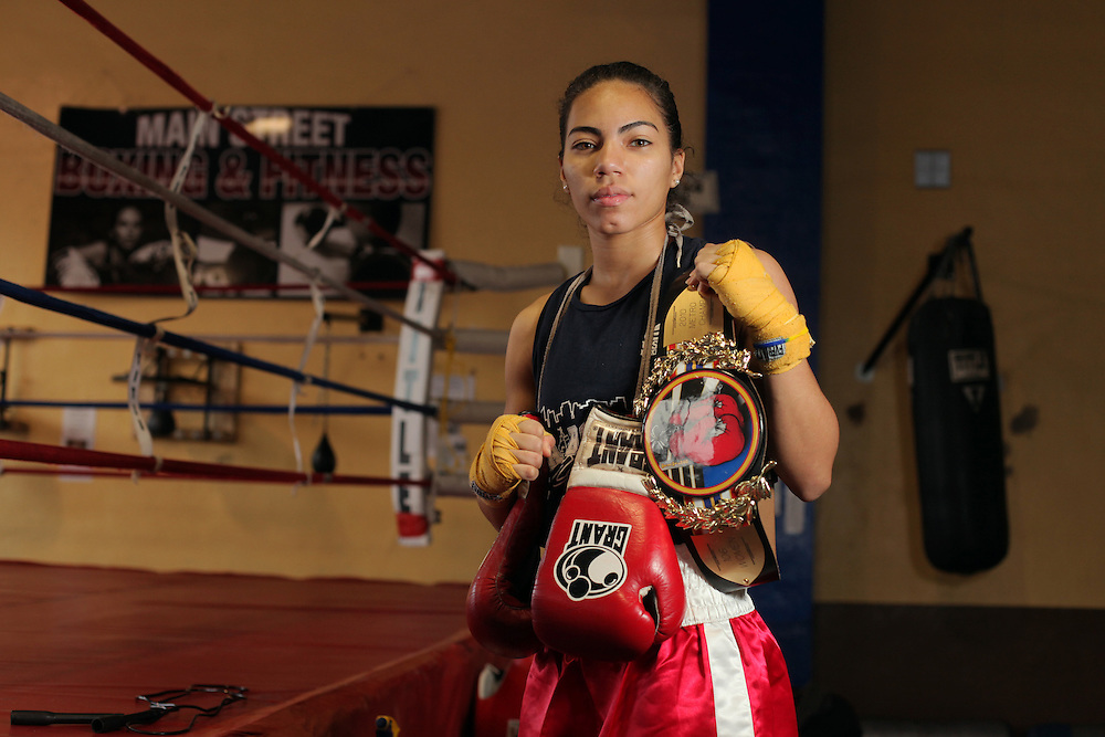 Boxer Natalie Gonzalez of New Rochelle is photographed at Main Street Boxing in New Rochelle on Dec. 31, 2010. ( Xavier Mascareñas / The Journal News )