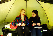 Two young women in a tent, UK, 1980s
