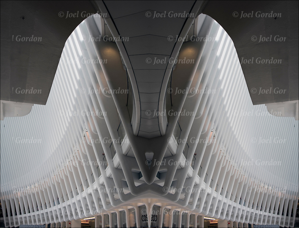 Photographic series of digital computer art from an image of interior of the Oculus white canopy sculpture.<br /> <br /> Two or more layers were used to enhance, alter, manipulate the image, creating an abstract surrealistic mirrored symmetry.