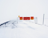 Route 87 blocked by snow, Myvatn, Iceland