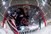 KELOWNA, BC - FEBRUARY 17: Jack McNaughton #31 of the Calgary Hitmen watches the puck from inside the net against the Kelowna Rockets at Prospera Place on February 17, 2020 in Kelowna, Canada. (Photo by Marissa Baecker/Shoot the Breeze)