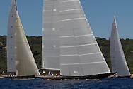 FRANCE, St Tropez. 30th September 2013. Voiles de St Tropez. L-R, LIonheart (H1), Hanuman (K6) and Velsheda (K7).