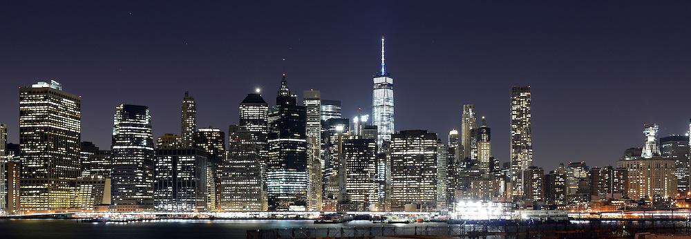 Manhattan at night from Brooklyn.