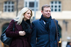 © Licensed to London News Pictures. 07/01/2019. London, UK.  Craig Mackinlay with his wife, Kati arrives at Southwark Crown Court this morning, where the jury are continuing their deliberations following a trial where Cackinlay stood accused of submitting false election expenses.  Photo credit: Vickie Flores/LNP