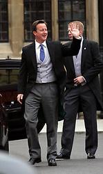 29 April 2011. London, England..Royal wedding day. British Prime Minister david Cameron arriving at the ceremony..Photo; Charlie Varley.