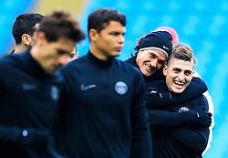 Edinson Cavani of PSG shares a joke with Marco Verratti - Mandatory byline: Matt McNulty/JMP - 07966386802 - 11/04/2016 - FOOTBALL - Manchester City v PSG - Etihad Stadium -Manchester,England - UEFA Champions League