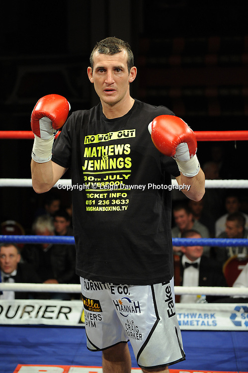 Derry Mathews (pictured) defeats George Watson for a Lightweight 8 x 3 min rounds contest at Olympia, Liverpool on the 11th June 2011. Frank Maloney Promotions.Photo credit: Leigh Dawney 2011