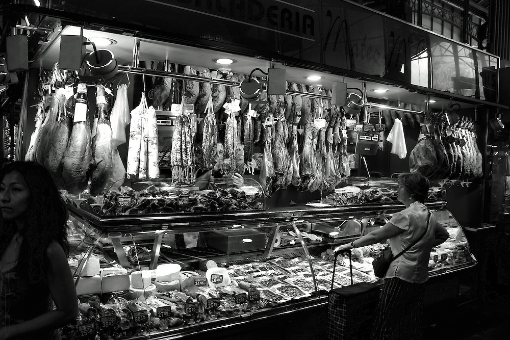 One of several butchers in the Mercat de la Boqueria, Barcelona.