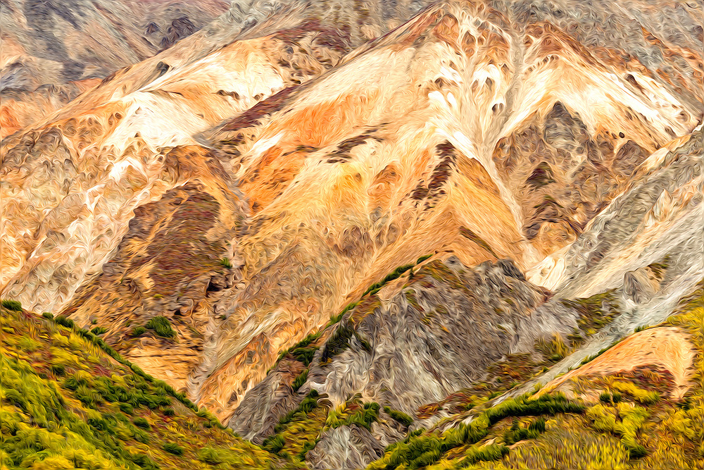 Oil Painting rendition of  the various mineral deposits of Sheep Mountain and the fall foliage make a tapestry of colors in the Talkeetna Mountains of Southcentral Alaska. Afternoon.