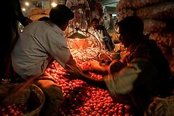 BANGLADESH DHAKA KAWRAN BAZAAR 1MARB05 - Onion traders at Kawran Bazaar vegetable market. The Bazaar has been in the Tejgaon area for at least 30 years and is one of the largest markets in Dhaka city...jre/Photo by Jiri Rezac ..© Jiri Rezac 2005..Contact: +44 (0) 7050 110 417.Mobile:  +44 (0) 7801 337 683.Office:  +44 (0) 20 8968 9635..Email:   jiri@jirirezac.com.Web:    www.jirirezac.com..© All images Jiri Rezac 2005- All rights reserved.