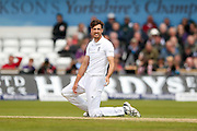 England & Middlesex bowler Steven Finn  contemplates a DRS review during day 3 of the first Investec Test Series 2016 match between England and Sri Lanka at Headingly Stadium, Leeds, United Kingdom on 21 May 2016. Photo by Simon Davies.