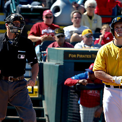 Mar 4, 2013; Bradenton, FL, USA; Pittsburgh Pirates right fielder Travis Snider (23) is called out on strikes by home plate umpireDavid Soucy during the bottom of the fourth inning of a spring training game against the Philadelphia Phillies at McKechnie Field. Mandatory Credit: Derick E. Hingle-USA TODAY Sports